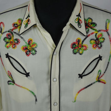1950's Millers Cream Embroidered Western Shirt Size L Western Swing