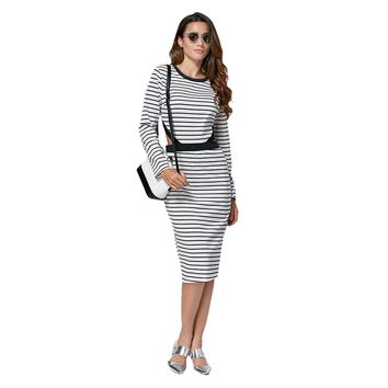 Casual Round Collar Cut Out Striped Cotton Blend Dress for Women