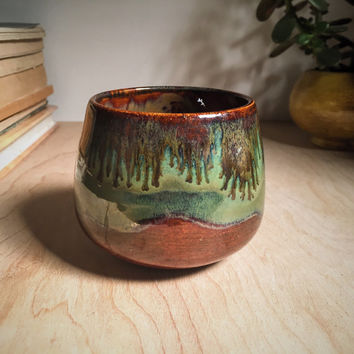 Mossy Green Earthy Pottery Cup Handmade Ceramic Coffee Mug Tea Cup Wine Cup Tumbler 10 oz