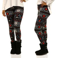 Cute Christmas Patterned Leggings in Black & Red