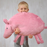 Giant Pink Pig Pillow Kids Room Decor Country House Summer Whimsical Animal Sweet Soft Toy Funny Plush