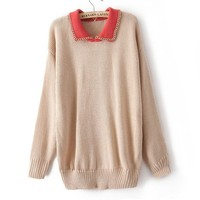 Buy Stylish Chain Pure Color Long Sweater Apricot with cheapest price|wholesale-dress.net