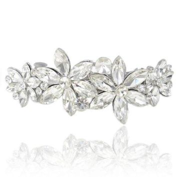 EVER FAITH Wedding 4 Daisy Flower Hair Clip Barrette Austrian Crystal Clear