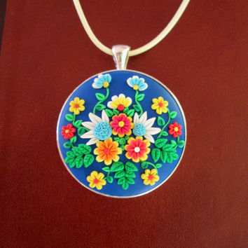 ready to ship jewelry,multicolor necklace,floral necklace,flower necklace,cameo nekclace,colorful statement necklace,polymer clay pendant