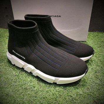 DCC3W Balenciaga Speed Low Slip-On Black Blue White Socks Shoes Casual Shoes