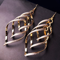 Women's Vintage Alloy Dull Polish Spiral Multi-layer Big Cross Drop Dangle Eardrop Earrings = 6014809991