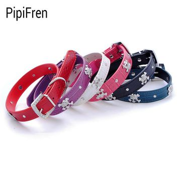Small Dogs Collars Rhinestone Skull Puppy Accessories For Pet Collar Cat