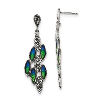 925 Sterling Silver Antiqued Epoxy Marcasite Peacock Post Dangle Earrings