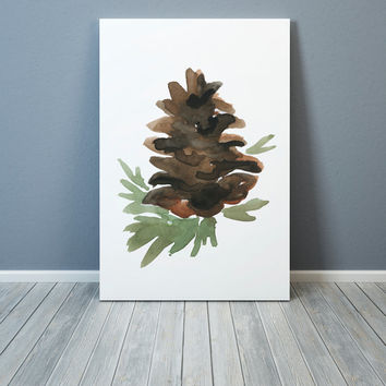 Pine cone painting Watercolor print Cabin decor