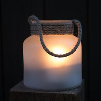 Painted Glass Candle Holder - Frosted