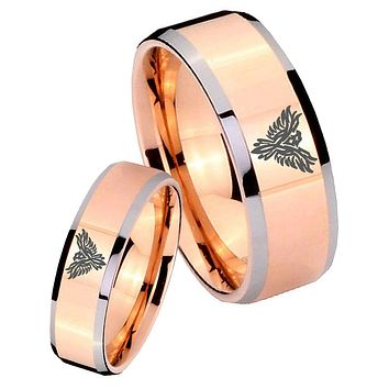 His Hers Rose Gold Beveled Phoenix 2 Tone Tungsten Wedding Rings Set