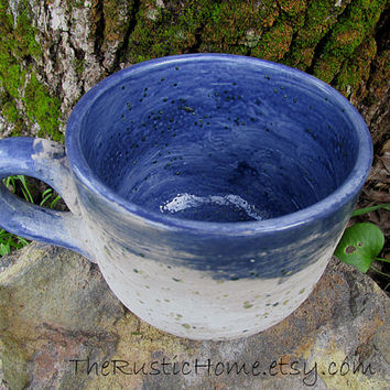 Stoneware pottery mug large 16 ounces blue grey birch bark style manly mug