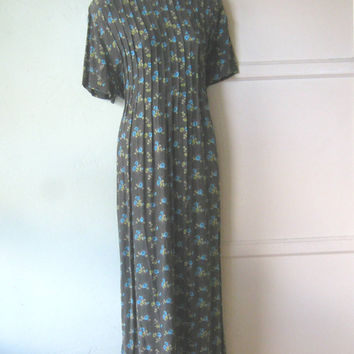 Forest Green XL/Plus Size '80s Maxi Dress - Blue Flower Print Nature Girl Maxi Dress -  Pleated Bodice Dress - Cool Rayon Dress, Size 14