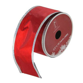 """Pack of 12 Shimmery Red and Silver Horizontal Wired Christmas Craft Ribbon Spools - 2.5"""" x 120 Yards Total"""