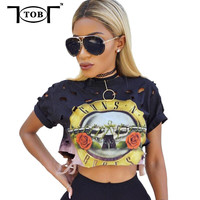 5 colors 2017 fashion women summer tops and tees print guns and roses women crop tops women plus size t shirt clothing XD843