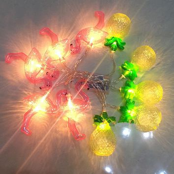 1.5M 10LED String Light Christmas Decoration Lighting Yellow Fruit Pineapple  Flamingo Shape Fairy Lights for Wedding Xmas Party