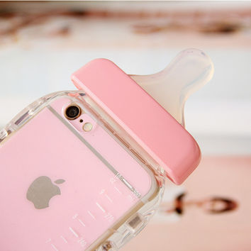 For iPhone 5 5s 6 Plus Baby Milk Bottle Clear Transparent Ultra Thin Case Cover