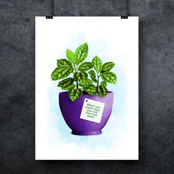 Houseplant digital poster, Office plant print, Houseplant print, Flower prints, Flower poster, Plant wall art, Plant quote, INSTANT DOWNLOAD
