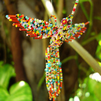 Ayahuasca Visions HUMMINGBIRD BEADED 3D BIRD Ornament Seed Beads Glass Multicolored Kaleidoscope Fractal Explosion Guardian Spirit Animal