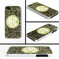 iPhone 5 Cell Phone Case Gold Faux Glitter Circle Monogram Initials Apple Personalized Name Protective White Plastic Hard Cover VM-1010