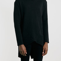 Selected Homme Long Line Black Sweatshirt - Men's Tops - Clothing