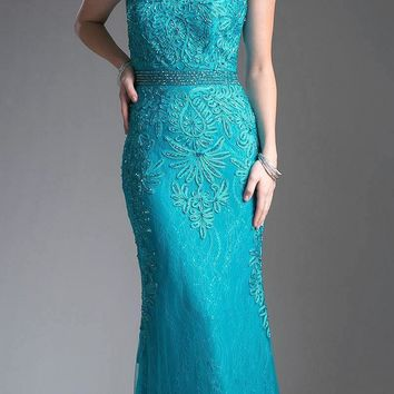 Jade Appliqued Long Formal Dress Cap Sleeved