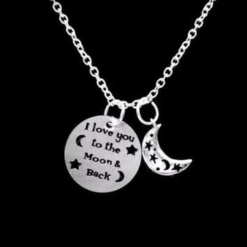 I Love You To The Moon And Back Crescent Moon Celestial Gift Necklace