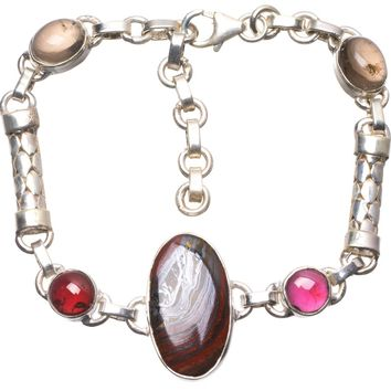 """Natural Iron Tiger Eye,Smoky Quartz and Amethyst Mexican 925 Sterling Silver Bracelet 6 3/4-8 1/4"""" U2236"""