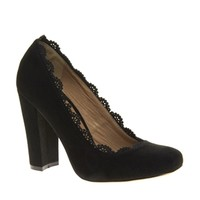 Faith Cheshunt Black Block Heeled Shoes