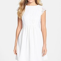 Women's French Connection 'Maui' Embroidered Mesh Bodice Fit & Flare Dress,