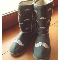 "Handpainted custom boots like uggs ""Mustaches"""