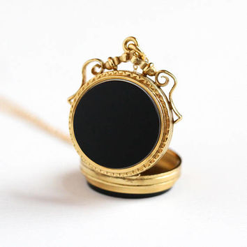 Antique Yellow Gold Filled Double Sided Locket Necklace - Vintage Victorian 1890s Black White Onyx & Sard Gem Cameo Jewelry Pendant Charm