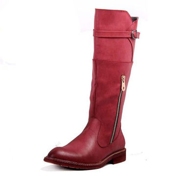 Low Heeled Fur Lined Side Zip Shoes Winter Fashion Riding Boots Men Funky British Style Square Heel Winkle Picker Buckle Red