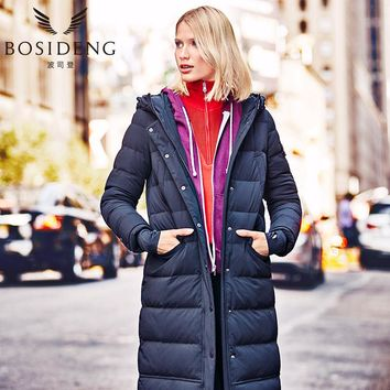 BOSIDENG 2017 winter women down coat long thick down jacket 90% down hooded high quality function letter print B1601198