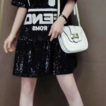 """Fendi"" Women's Fashion Casual Long-Sleeved Printed Shirt Sequin Dress"