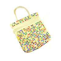 Multicolored Beaded Cinch Bag Purse - Vintage Bag