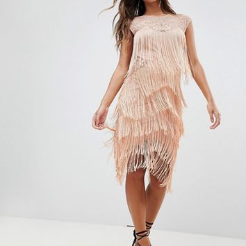 ASOS Fringe & Sequin Sheer Midi Dress at asos.com
