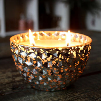 Holiday Soy Candle In A 14oz Silver Glass Bowl - Pick Your Scent // Holiday Decor And Holiday Candles