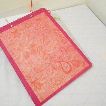 Handmade Floral Magenta or Green Print Decorative Clip Board in Lime or Magenta -- Double Sided -- Choose 1