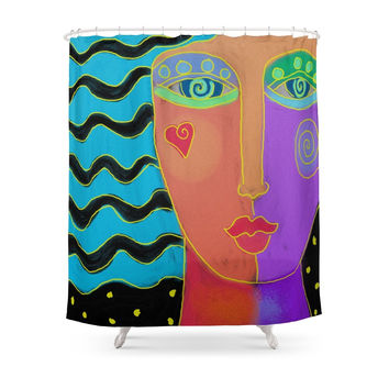 Society6 Abstract Digital Painting Of A Woman Shower Curtain