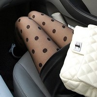 Women's Black Sexy Sheer Big Dots Pantyhose Socks Stockings Tights