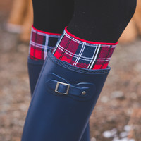Grace & Lace Plaid Printed Boot Cuffs (Red)