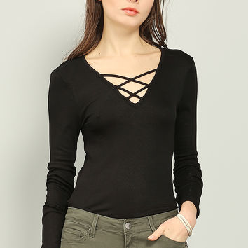 Crisscross Strappy Ribbed Top