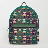 Sloth pattern Backpacks by Maria Jose Da Luz