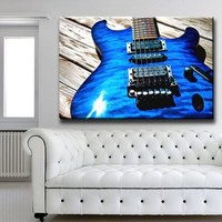 """Large 26x39"""" Box Framed Canvas Print Artwork Stretched Gallery Wrapped Wall Art Painting Hanging Original Decorative Modern Home & Living Decor Music Note Guitar Recorder Sound Pipe Urban Vintage Like Painting Blue (Canm26)"""