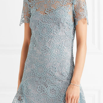 Self-Portrait - Open-back guipure lace mini dress