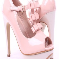 NUDE PATENT MINI PATENT BOWS HIGH HEELS