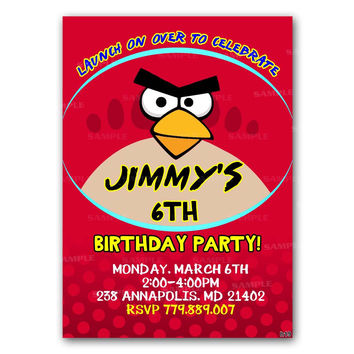 Angry Birds Birthday Party Invitation Birthday Invitation Party Design