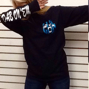 Carolina Panthers Dab on 'Em #GoPanthers Monogram T Shirt