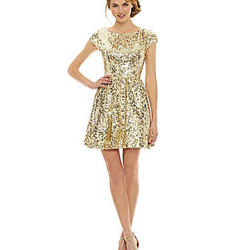 B. Darlin Cap-Sleeve Sequin Skater Dress | Dillards.com